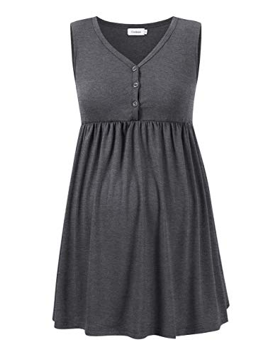 - Coolmee Women's Faux Wrap Maternity Tank Top Loose Fit Pregnancy Breastfeeding Shirt with Buttons (S, Gray)