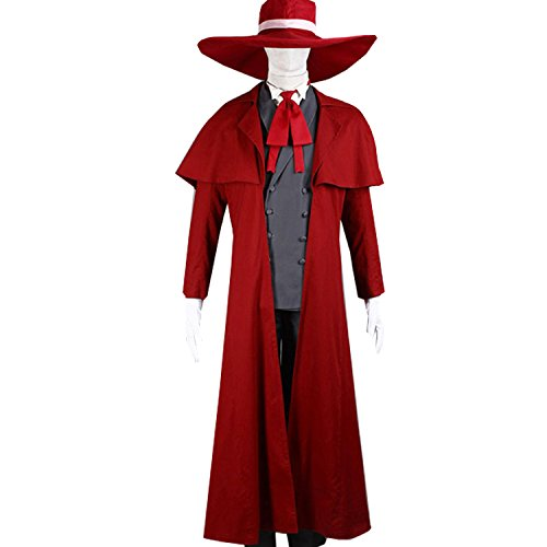 Anime Alucard Cosplay Costume Set Adult Vampire Hunter Uniform Suit Outfit Red ()