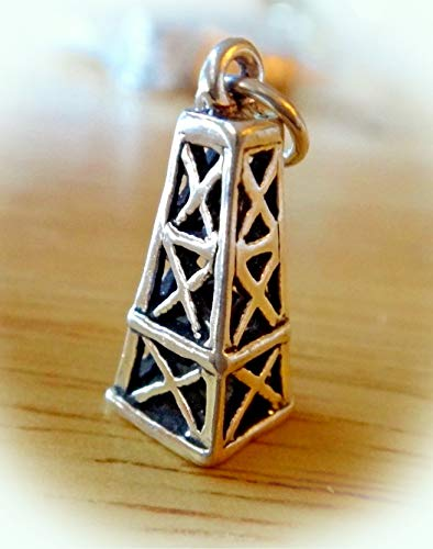 Sterling Silver 3D 19x8mm Old Style Oil Field Derrick Charm Vintage Crafting Pendant Jewelry Making Supplies - DIY for Necklace Bracelet Accessories by CharmingSS ()