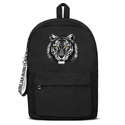 Gray Tiger Colorful Eye Unisex Canvas Backpack Pretty Satchel School Backpack for Girls Boys
