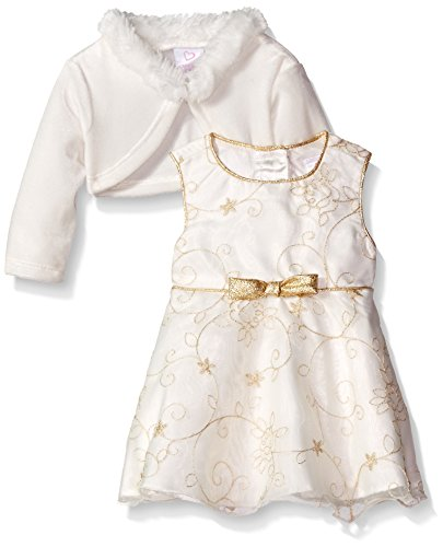 2 Piece Embroidered Tie - Youngland Baby Girls' 2 Piece Embroidered Dress with Cardigan, Ivory/Gold, 24 Months