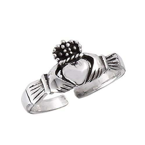 .925 Sterling Silver Claddagh Celtic Toe Ring ()