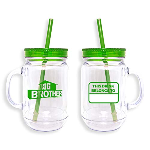 Big Brother Mason Jar Double Walled Tumbler, Plastic, 20 oz. - Official Drinkware As Seen On CBS (Green)