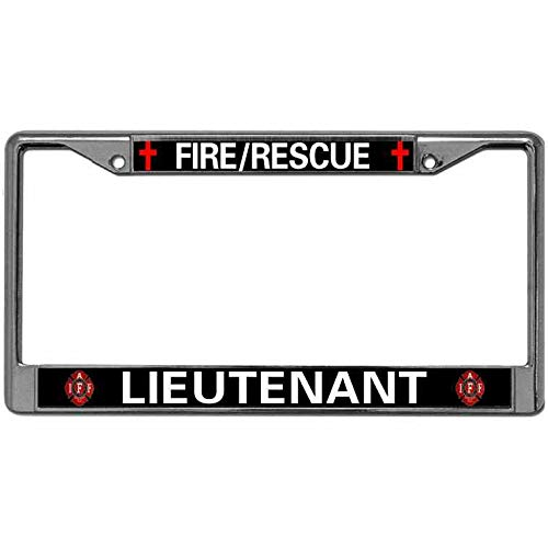 Fire Rescue Lieutenant Car Licenses Plate Frame Stainless Steel Metal License Plate Tag Frame Firefighter Fireman License Plate Frame ()