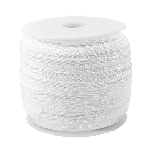 (Teemico 50 Yards Elastic Foldover Ribbon Stretch Elastic Band Spool Roll for DIY Baby Girls Hair Bow Ties Headbands Decor,15 mm,5/8 inch Width (White))