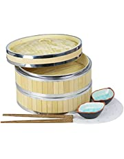 HLZC 10 Inch Bamboo Steamer with Stainless Steel Ring, Two Tier Bun Dumpling Steamer Basket (Yellow)