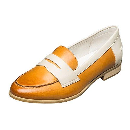 Mouth KANGNAI Low Women's Yellow Comfort Slip Shallow Sheepskin On Pump Heel Shoes xwYAqRBHw