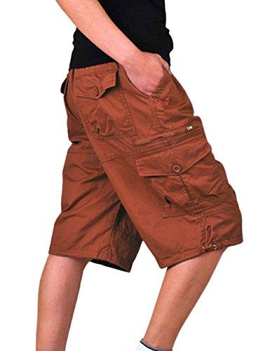 YOLL Men's Elastic waist Outdoor MILITARY Cargo Short Pants