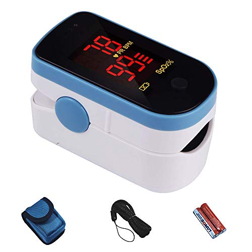 CHOICEMMED Sky Blue Finger Pulse Oximeter - Blood Oxygen Saturation Monitor - SPO2 Pulse Oximeter - Portable Oxygen Sensor with Included Batteries - O2 Saturation Monitor with Carry Pouch