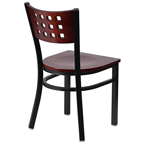 Modern Style Metal Dining Chairs Bar Restaurant Commercial Seats Mahogany Wood Cutout Back Design Black Powder Coated Frame Home Office Furniture - (1) Mahogany Wood Seat #2206 by KLS14 (Image #2)