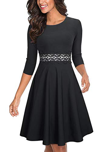 HOMEYEE Women's Cocktail A-Line Embroidery Party Summer Wedding Guest Dress A079 (10, Black-3/4 Sleeve)