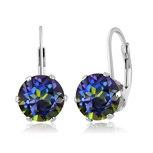 Gem Stone King Sterling Silver Blue Mystic Topaz Women s Gemstone 6-prong Leverback Earrings 4.00 cttw, 8MM Round Cut