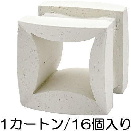 ブロック せっき質無釉ブロック ポーラスブロック100 白土 フラワーF(配筋溝あり・4本角溝) 16個セット単位 屋外壁