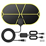 TV Antenna Indoor TV Antenna, 2020 TICTID Digital TV Antenna 140 Miles Range, 4K 1080P Free Local Channels HDTV Antenna with Amplifier Signal Booster and 4.4M Coaxial Cable