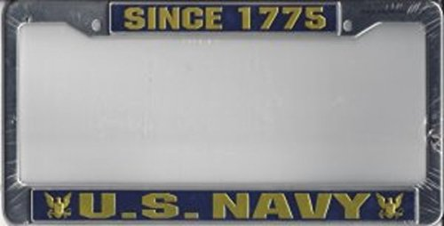 Eagle Crest U.S. Navy Since 1775 Chrome License Plate Frame Free Screw Caps Included