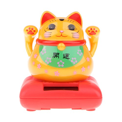 D DOLITY Golden Plate Solar Toy Happy Beckoning Blessing Fortune Cat Home Decor Ornament Xmas Gift #B