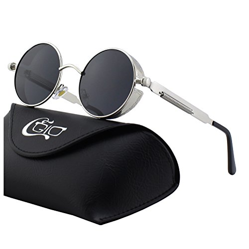 - CGID E72 Retro Steampunk Style Inspired Round Metal Circle Polarized Sunglasses for Women Men