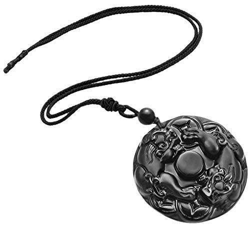 (TUMBEELLUWA Stone Pendant Healing Crystal Necklace Obsidian Amulet Chakra Quartz Power Cord Handmade Jewelry for Women Men,Mythical Animal)