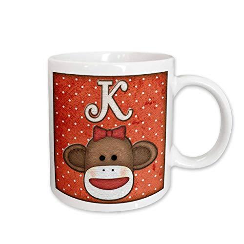 3dRose mug_102814_2 Cute Sock Monkey Girl Initial Letter K Ceramic Mug, 15-Ounce