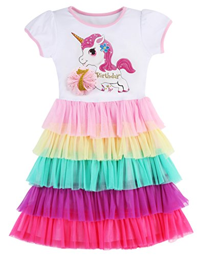 PrinceSasa Elegant Girls Clothes Unicorn Rainbow Party White Cupcake Short Sleeve Spring Dress for Princess Toddler Birthday Outfits Dresses,Birthday7,7-8 Years(Size 140) -