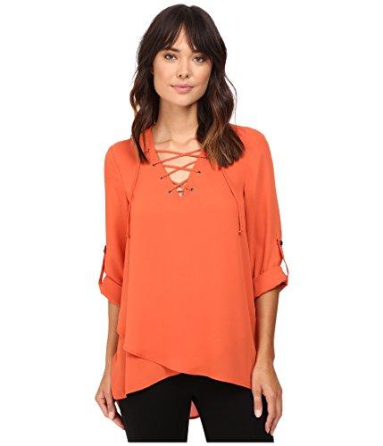 karen-kane-lace-up-roll-tab-top-pumpkin-womens-clothing