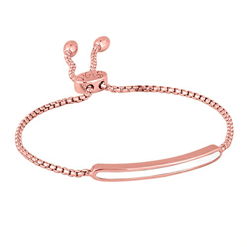 Rhythm & Muse Rose Gold over Sterling Silver White Agate Bar Bracelet (Gold White Agate Rose)