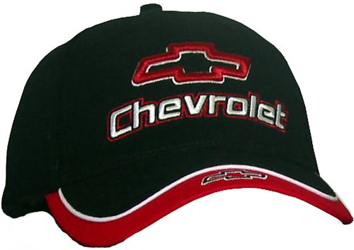 Chevy Chevrolet Fine Embroidered Contrasting Hat Cap, Black/Red