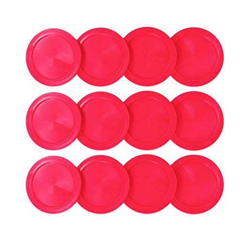 """Lemon home Air Hockey Red Replacement 2.5"""" Pucks for Game Tables, Equipment, Accessories (12 Pack)"""