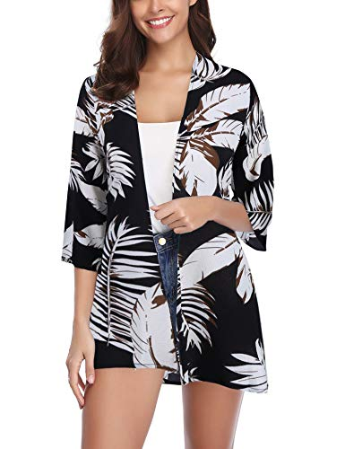 Aibrou Women's S-XXL Boho Floral Print Kimono Black Tops Trumpet Sleeve Cover Up Cardigans ()