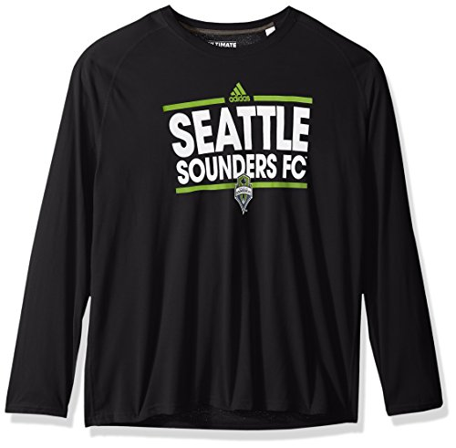 adidas MLS Seattle Sounders FC Adult Men Dassler Ultimate L/S Tee, Medium, Black