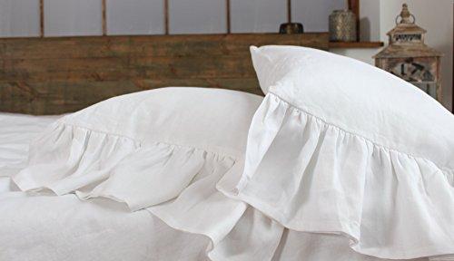 King linen pillow sham with mermaid long ruffle, 20 X 36