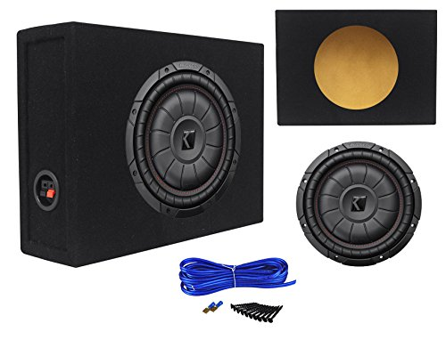 Kicker 43CVT104 COMPVT 800w 10 Shallow Slim Car/Truck Subwoofer+Sealed Sub Box (12' Audio Truck)