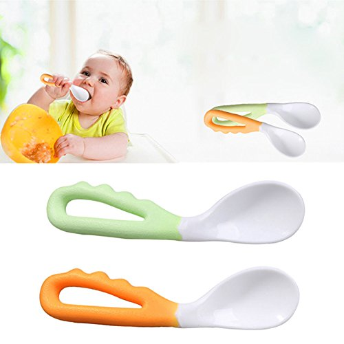 Amrka Baby Spoons Self feeding, Infant Safe Spoon Solid Pacifier Bending Spoon Curved Flatware, Pack of 2 Pcs