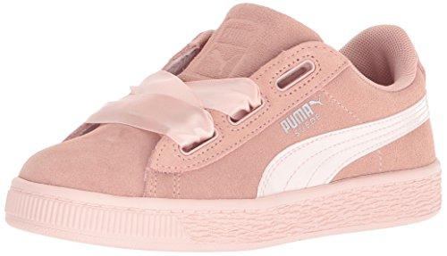 PUMA Girls' Suede Heart Jewel Kids Sneaker, Peach