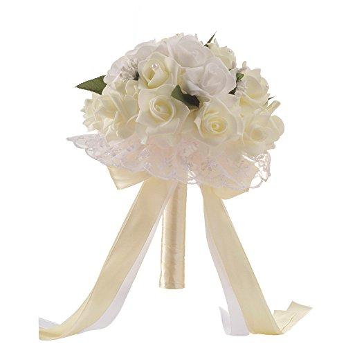 NszzJixo9 Wedding Bouquet - Crystal Rose Pearl Bridesmaid Bride Artificial Silk Flower Bridal Brooch Bouquets, Flowers Diamond Satin Bouquets for Wedding, Engagement Valentine's Day Decor (White)