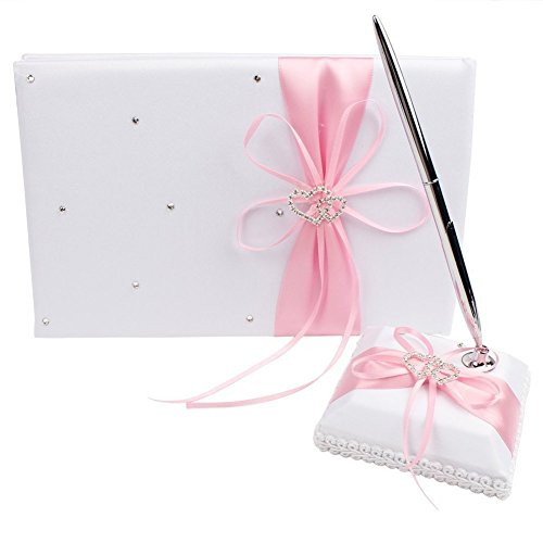 Pink Ribbon Double Crystals - 2Pcs Wedding Guest Book Pen and Stand Set, Celebration Wedding Guest Book and Pen Set, Ribbon Bowknot Double Heart Crystal Rhinestone Buckle Guest Book with Pen & Holder, Wedding Ceremony Party Favor