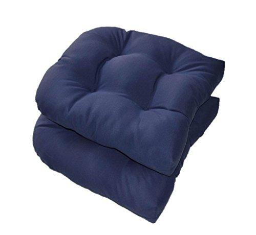 Set of 2 – Universal Tufted U-shape Cushions for Wicker Chair Seat – Solid Navy Blue – Indoor Outdoor