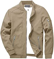 CRYSULLY Men's Spring Fall Casual Slim Fit Thin Lightweight Outwear Sportswear Bomber Jacket