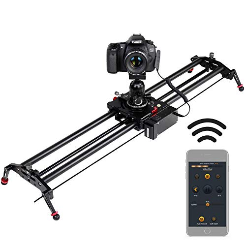 Camera Slider, ASHANKS Motorized APP Bluetooth Wireless Control Carbon Fiber Track Dolly Slider Rail System Automatic Round Trip, Follow Focus Time Lapse Slider for DSLR Photography 1.2m/3.94ft