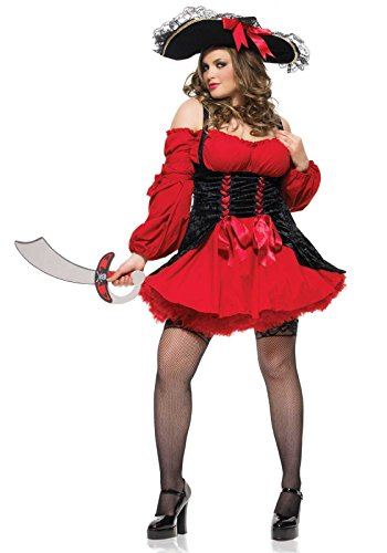 [Leg Avenue Women's Plus Size Vixen Pirate Wench Costume, Black/Red, X-Large/XX-Large] (Used Plus Size Halloween Costumes)