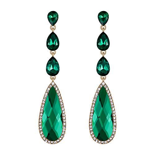 BriLove Wedding Bridal Dangle Earrings for Women Crystal Elongated Faceted Teardrop Infinity Figure 8 Chandelier Earrings Emerald Color Silver-Tone