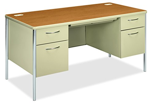 - HON 88962CL Mentor Series Double Pedestal Desk 60w x 30d x 29-1/2h Harvest/Putty, Harvest/Putty