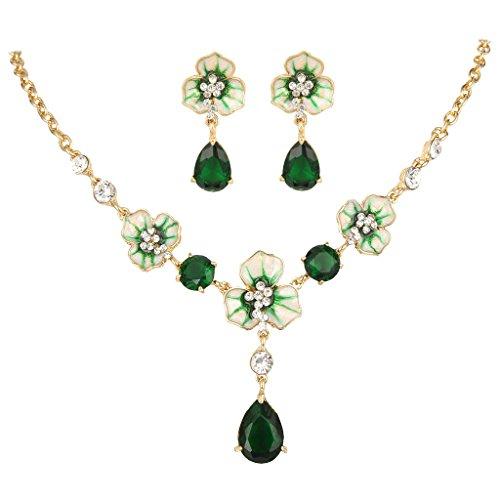 EVER FAITH Gold-Tone Zircon Crystal Enamel 3 Flowers Tear Drop Necklace Earrings Set Green