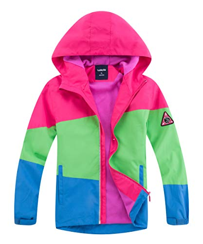 M2C Girls Hooded Fleece Lined Waterproof Jacket Windproof Raincoat 10/12 Color Block Rose