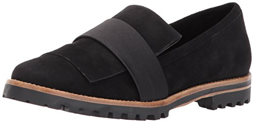 Bernardo Women's ORA Loafer Flat, Black Suede/Satin, 9M M US
