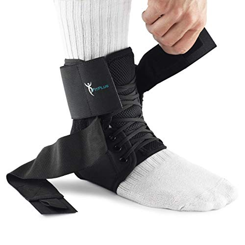 FitPlus Premium Ankle Brace Support - Breathable Lace Up Adjustable Compression Support - Provides Pain Relief and Support for Sprains, Strains, Arthritis, Plantar Fasciitis, Foot & Ankle Swelling by FitPlus