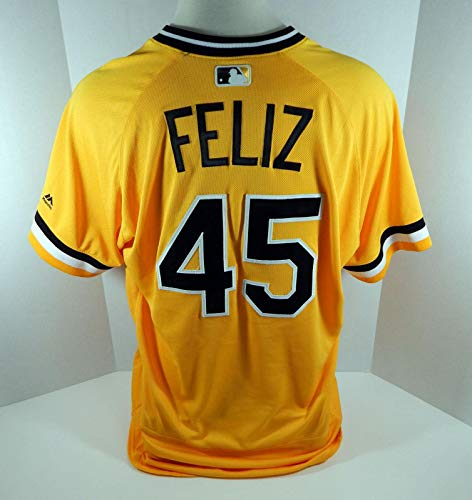 2018 Pittsburgh Pirates Michael Feliz #45 Game Used Gold Alternate Jersey - Game Used MLB Jerseys