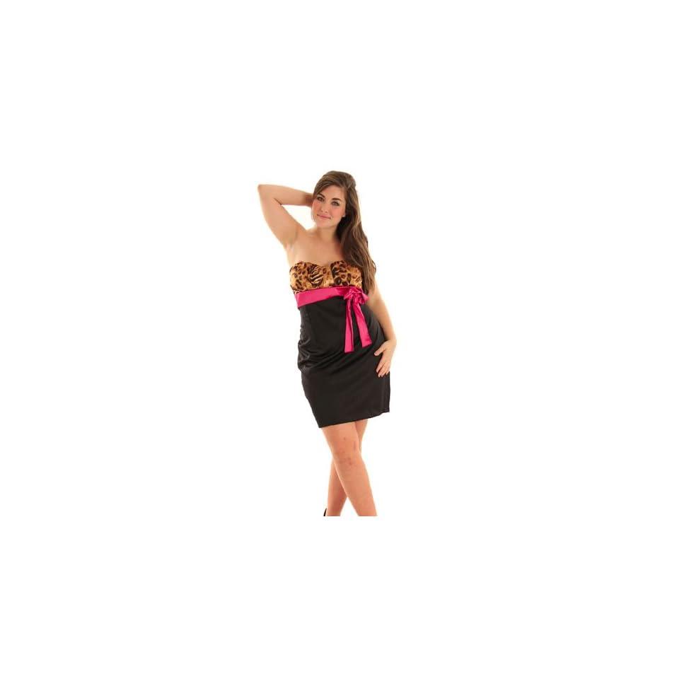 DHStyles Women's Sexy Strapless Plus Size Cocktail Dress   XL Plus   Black, Fuchsia
