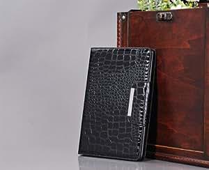 Crocodile Pu Leather Cover Case with Card Holder for Apple Ipad Mini /Mini2(black)