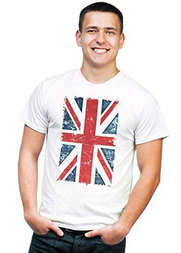 Retreez Vintage Union Jack UK Britain British Flag Graphic Printed Unisex Men / Boys / Women T-shirt Tee - White - X-Large (Printed Union)
